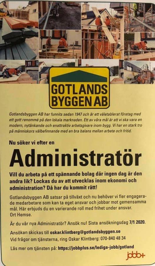 Vill du vara med att utveckla Gotlandsbyggen framåt samt utveckla dig själv? J... 1